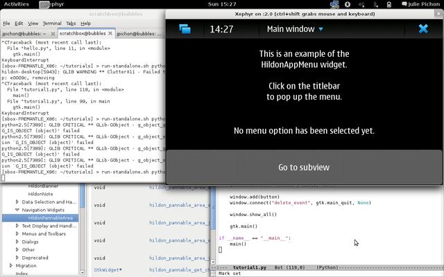 Screenshot of development environment